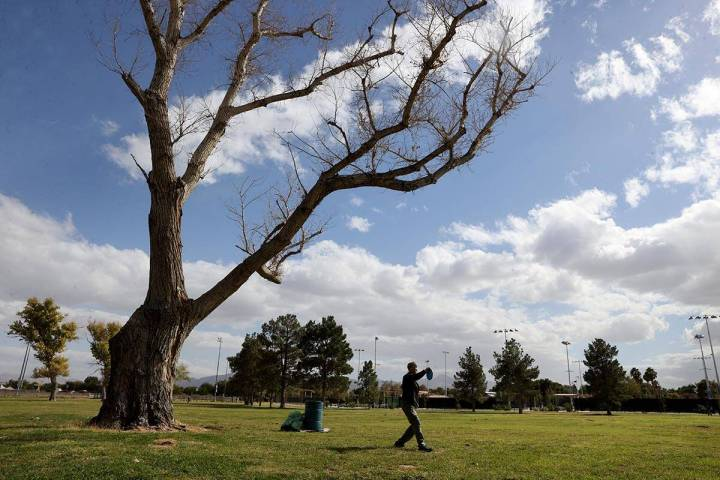 Laurie Chupa of Las Vegas during a practice round of disk golf at Sunset Park on Monday, Oct. 1 ...