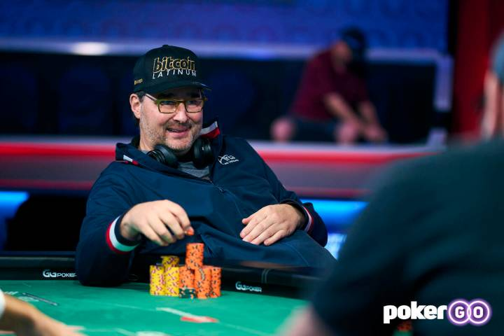 Phil Hellmuth plays in the $10,000 buy-in Dealer's Choice event at the World Series of Poker on ...
