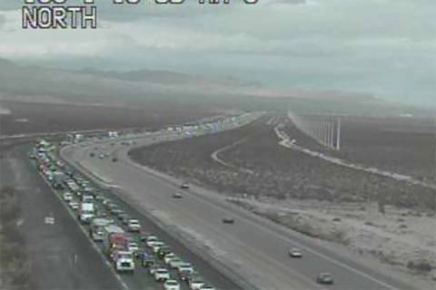 Traffic backup on southbound Interstate 15 headed into Southern California, Monday, Oct. 25, 20 ...