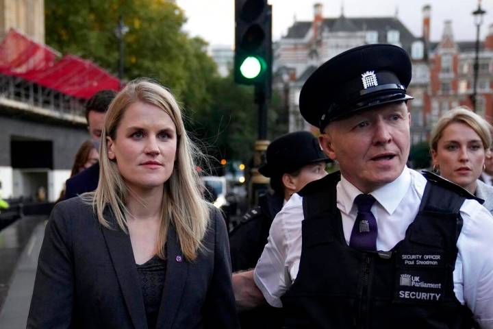 Facebook whistleblower Frances Haugen leaves after giving evidence to the joint committee for t ...