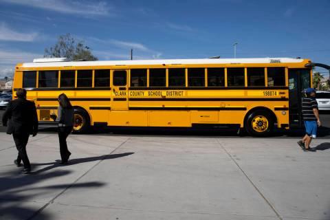 This Oct. 6, 2021, file photo shows a Clark County School District bus in Las Vegas. (Erik Verd ...
