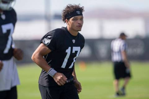Raiders wide receiver Willie Snead (17) runs during a practice session at the Raiders Headquart ...