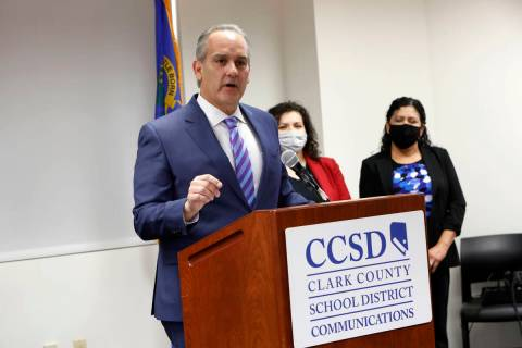 Clark County School District Superintendent Jesus Jara speaks during a news conference at the C ...