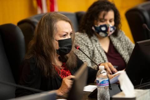 Clark County School District Board of Trustees president Linda Cavazos speaks during a board me ...